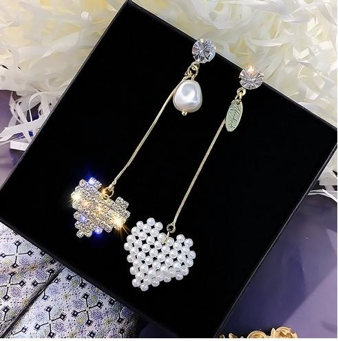 MoMo Asymmetrical Gold Silver Love Heart Pearl Statement Earrings 2019 925 Crystal Drop Earrings Sets for Women Jewelry