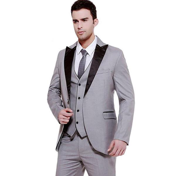 Grey Men Tuxedo Groom Wedding Suits Black Peaked Lapel Slim Fit Terno Masculino 3Piece Man Blazer Groomsmen Coat Pants Vest Costume Homme