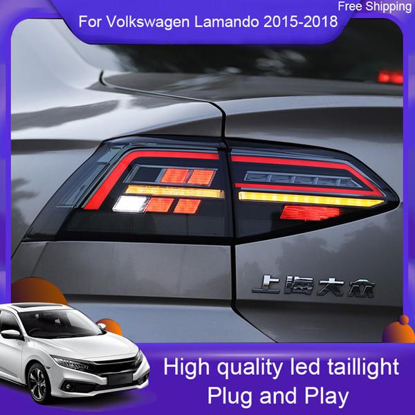 Car Styling para VW Lamando Taillight assembly 2015 2016 2017 2018 LED luz traseira lâmpada traseira DRL + Brake + parque + sinal com luzes do carro HID Kit