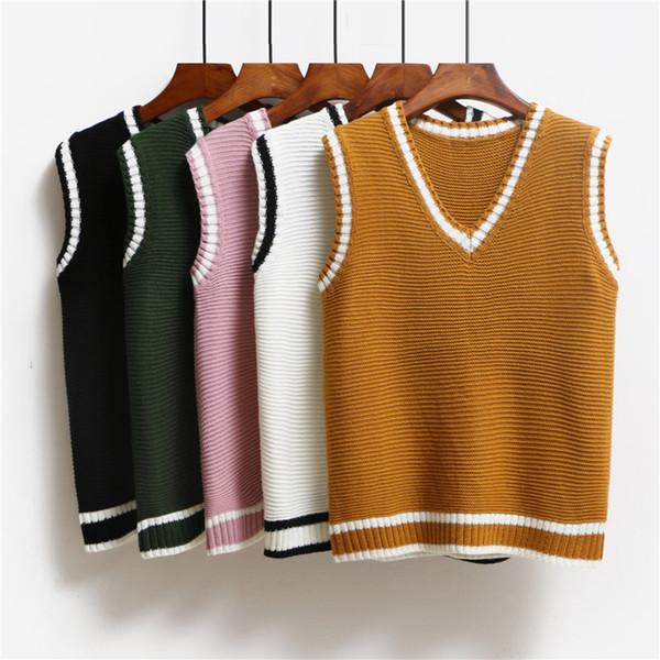 New Arrival Autumn Winter Female Fashion Cashmere V-neck Knitting Vest Korean Style Elegant Casual All-match Sweater Vest