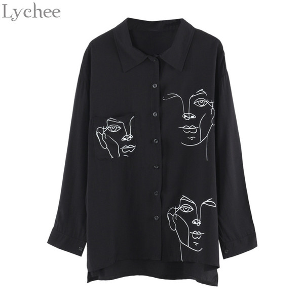 Lychee Spring Autumn Women Blouse Face Print Casual Loose Long Sleeve Shirt Vintage Brlusa Tops Q190416