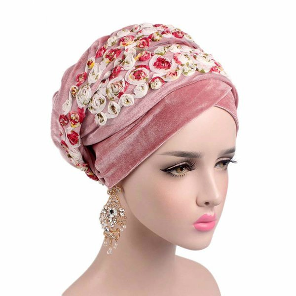 Women Fashion Flower Muslim Scarf Hijabs Hats Velvet Women India Hat Turban Hat Wrap Cap Long Head Scarf Headscarf Hats 8 Colors