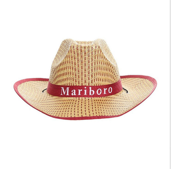 Summer Straw Hat With Big Brim Western Cowboy Hat Men's Beach Cap Bamboo Hat With Curled Edges