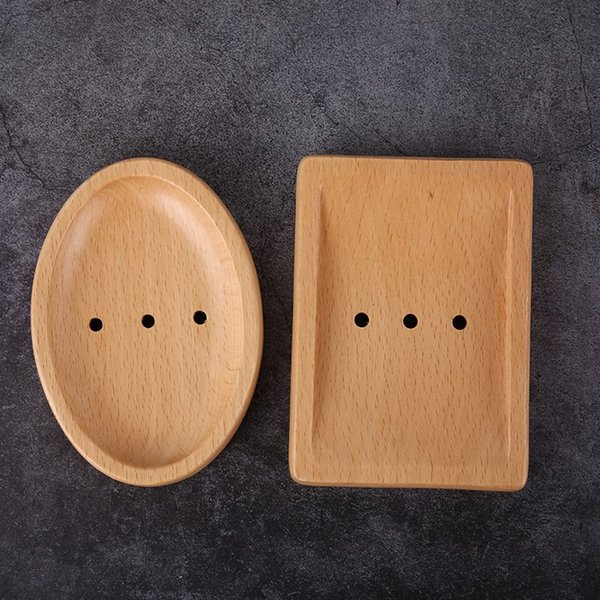 Wooden Soap Dishes Japanese Creative Simple Soap Holder Natural Wood Manual Drain Soaps Dishes 2 Style HHA585