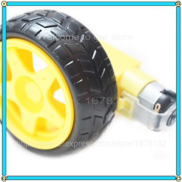 Freeshipping 10set Deceleration DC motor+supporting wheels smart car chassis, motor/robot car wheels