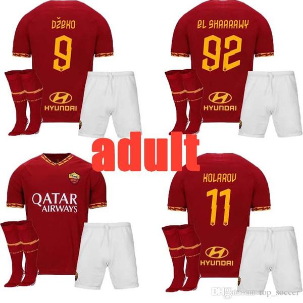 novo 19 20 Tailândia DE ROSSI DZEKO ZANIOLO camisa de futebol roma 2019 TOTTI PEROTTI jersey 19 20 adulto de futebol roma homens conjuntos uniformes