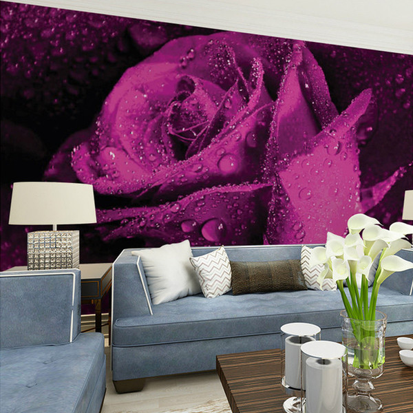 Personalizado mural papel de parede 3d estéreo não-tecido murais quarto sala de tv fundo roxo rosa flor 3d foto papel de parede rolos