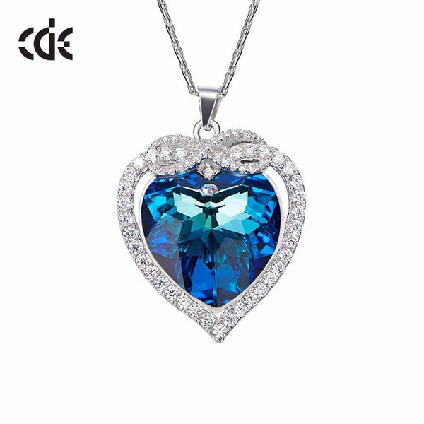 af55341c9 CDE S925 Sterling Silver Crystals from Swarovski Necklaces For Women  Austrian Crystal Blu-ray Fine