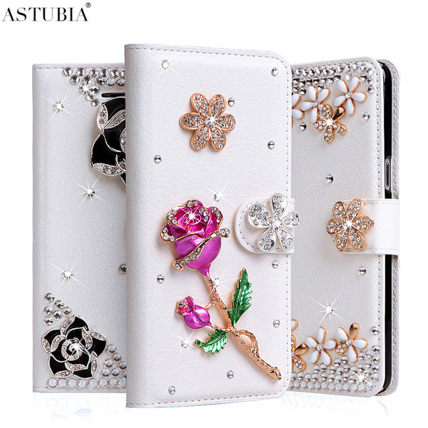 For iPhone 6 Plus Case Rose 3D Rhinestone Wallet PU Leather Cover For iPhone 6s Plus Luxury Handmade Floral Diamond Fundas Case