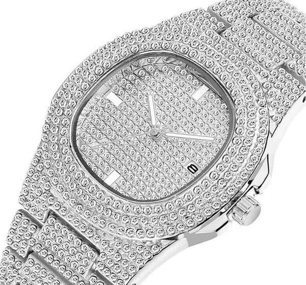 orologi da donna da donna Orologio da uomo con diamanti in oro pieno con strass da donna Orologio da polso con design automatico svizzero da polso