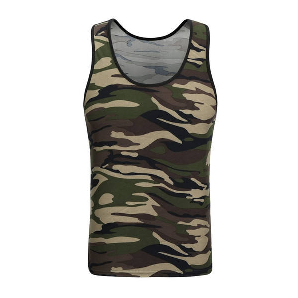 Camouflage Tank Tops Mens Tight Bottoming Undershirt Sporting Wear Singlet Fitness Exercise Vest Sleeveless Shirt #105740