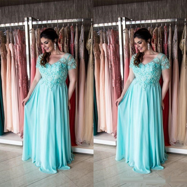 Elegant Short Sleeve Mother Of Bride Dresses Lace Applipues Formal Party Gowns Custom made Plus Size Wedding Party Gowns