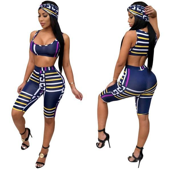 Summer Women's Sexy Plaid Print Three Piece Tracksuit Sets Blue Striped Crop Sleeveless Vest and Short Capris with Headband 3Pcs Outfits Set