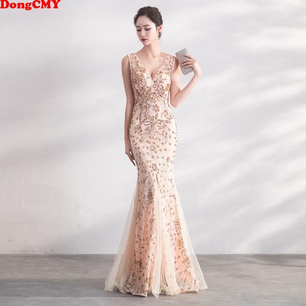 46fc676ded23 Compre Dongcmy Oro Color De Lentejuelas Vestidos De Baile Vestido Largo  Elegante Fiesta De Noche Vestidos De Mujer Y19042701 A $85.79 Del ...
