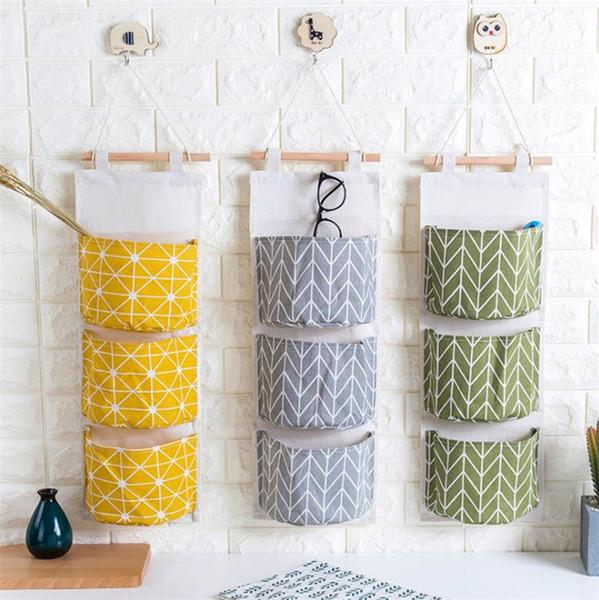 Cotton and linen waterproof hanging bag storage hanging bag hanging multi-layer sling fabric door behind the debris storage Baskets T8I073