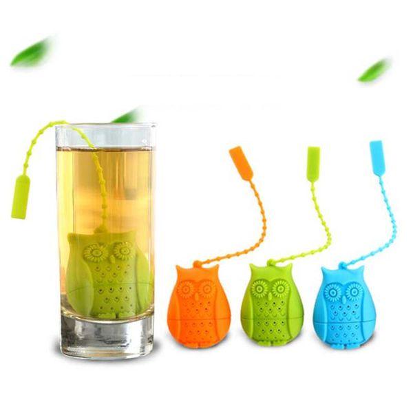 Gufo in silicone sciolto bustina porta bustina filtro infusore filtro colino cucchiaino filtro infusore cartone animato foglia sfusa colini per il tè
