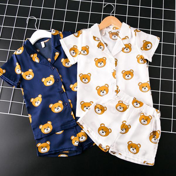 Vestiti della neonata delle ragazze dei ragazzi della molla 2pcs insiemi il vestito dal raso della tuta dell'orso della manica corta dolce Vestiti delle neonate Abbigliamento per bambini