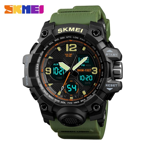 SKM 1327 Stylish and creative dual-display electronic watch, quartz movement with hands, calendar, waterproof multi-color wrist watch