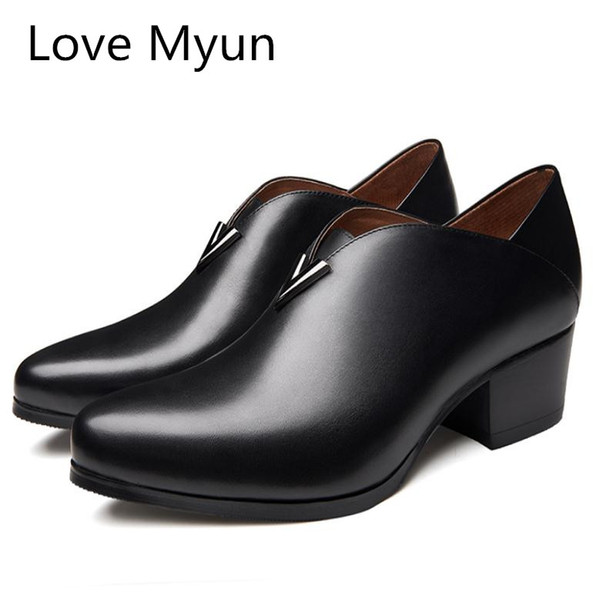 New mens high heels genuine leather dress shoes men fashion wedding shoes pointed toe height increase career work dance