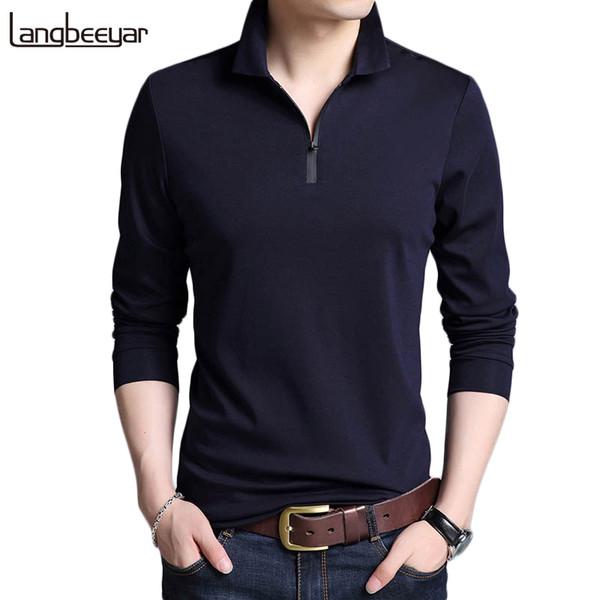 2019 Nouveau Mode Marques Designer Polo Hommes Coton Garçons Street Style à manches longues coréenne Slim Fit Casual Polos Vêtements Hommes LY191209