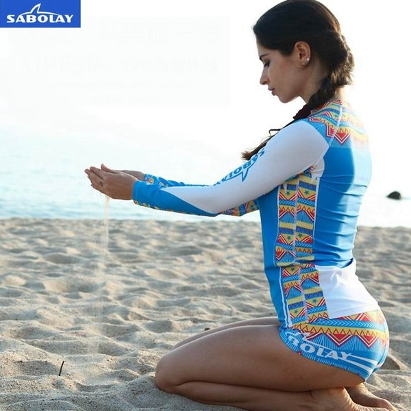 Sabolay Women Rashguard Shirts Swimming Suits Sunscreen Jellyfish Surf Wetsuit Floating Split Women Waterproof Yoga Clothes