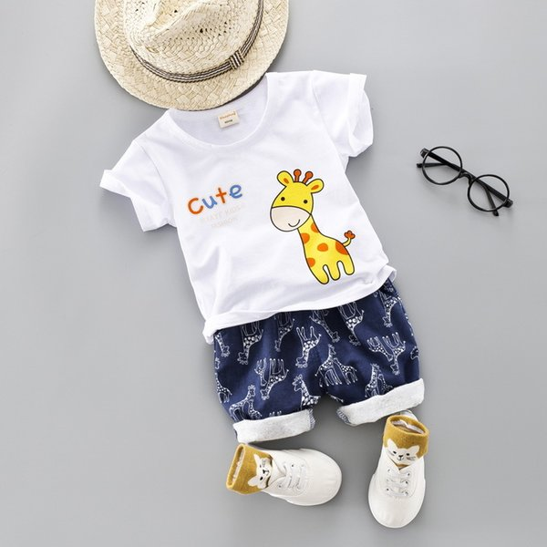1-4y Girl Boy Summer Clothing Set 2019 New Cute Cartoon Letter Children Clothing Short Sleeve Shirt Boys Suit For Kids Clothes J190717