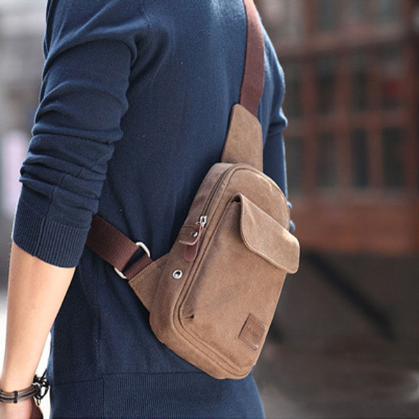 Hot Men's Small Chest Sling Bag Travel Hiking Cross Body Messenger Shoulder Casual Solid Men Canvas Bag Handbag