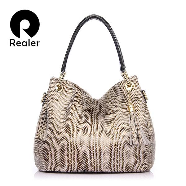 Realer Brand Handbag Women Genuine Leather Bag Female Hobos Shoulder Bags Messenger High Quality Leather Tote Bag Crossbody Y19052701