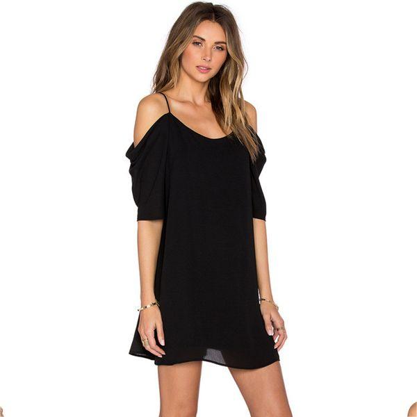 Moda Sólidos para mujer Vestidos casuales Correa de espagueti Hombro Hombros Vestidos de tallas grandes Vestidos de diseñador de diseñador cortos