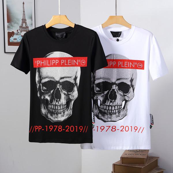 2019ss mens designer t chemises à manches courtes hommes marque vêtements mode strass crâne femmes t-shirt mâle top qualité coton Tees 127