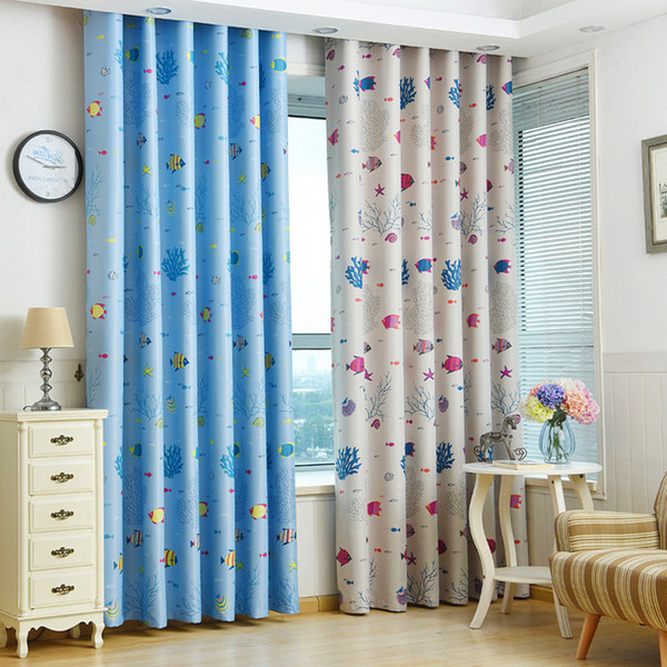 2019 Cartoon Blackout Curtains For Kids Children Bedroom Jarl Home Decor  Fish Printed Window Treatments Kitchen Nursery Living Room Curtain Panel  From ...