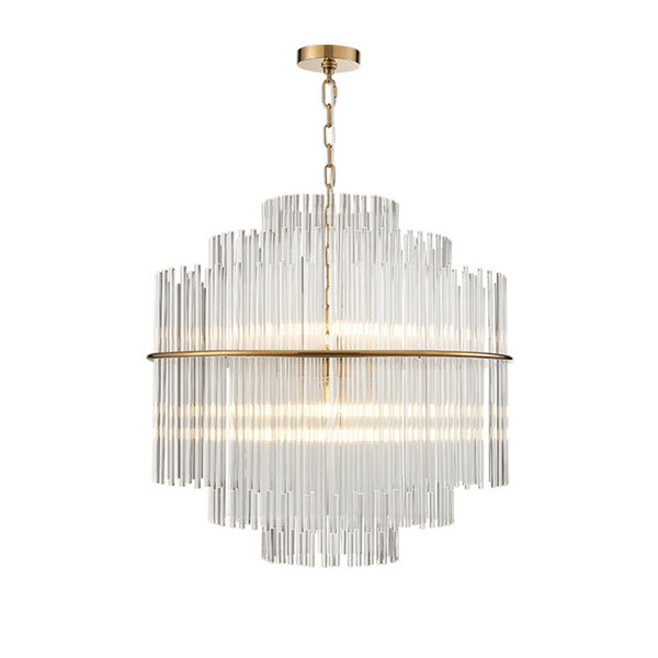 Modern LED Chandelier Lighting Luxury Living Room Glass Rod Hanging Light Round Luxury Home Decoration Crystal Lamps