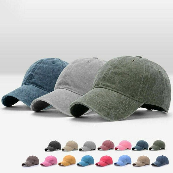Hot Fashion Snapback Baseball Sun Caps Classic Unisex Washed Vintage Sport Ball Caps Outdoor Adjustable Solid Sun Hat