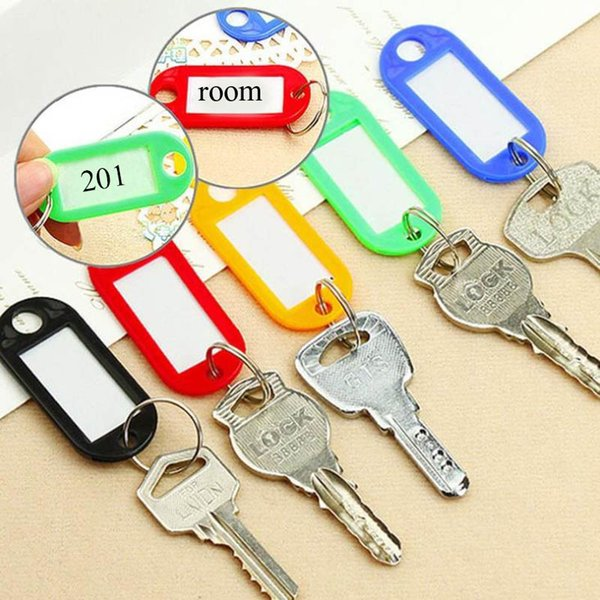 10 PCS Chaveiro De Plástico Chave Tags ID Rótulo Etiquetas Nome Com Anel Dividido Para Anéis De Corrente de Bagagem anéis