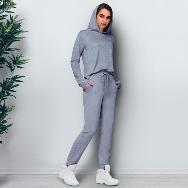 Toplook Grey Suede Womens Suits Two Piece 2017 Winter Autumn Long Sleeve Hooded Pullover Long Pants Casual Women's Tracksuits