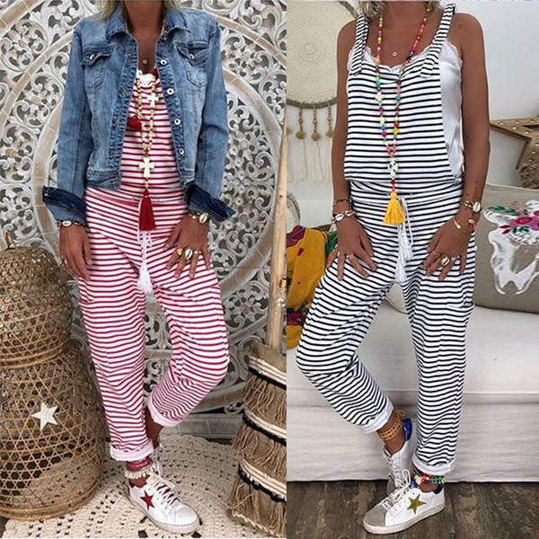 2019 Summer Sleeveless Striped Jumpsuit Womens Bib Dungaree Pants Rompers Ladies Casual Baggy Overalls Playsuit Plus Size 3XL