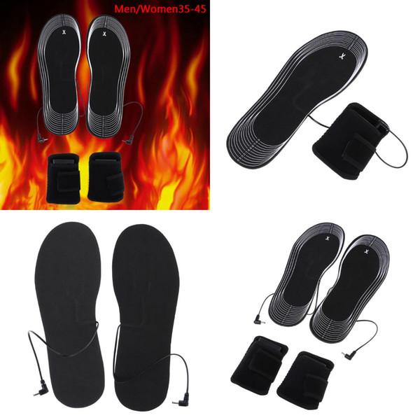 1set Winter Heated Insoles Women Men Electric Battery Heating Warm Shoe Inserts Can Cut Carbon Fiber Foot Pads
