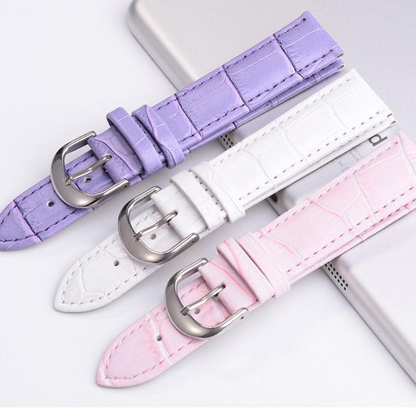 Colorful 12mm/14mm/16mm/18mm/20mm/22mm/24mm/26mm High Quality Soft Sweatband Leather Strap Steel Buckle Wrist WatchBand