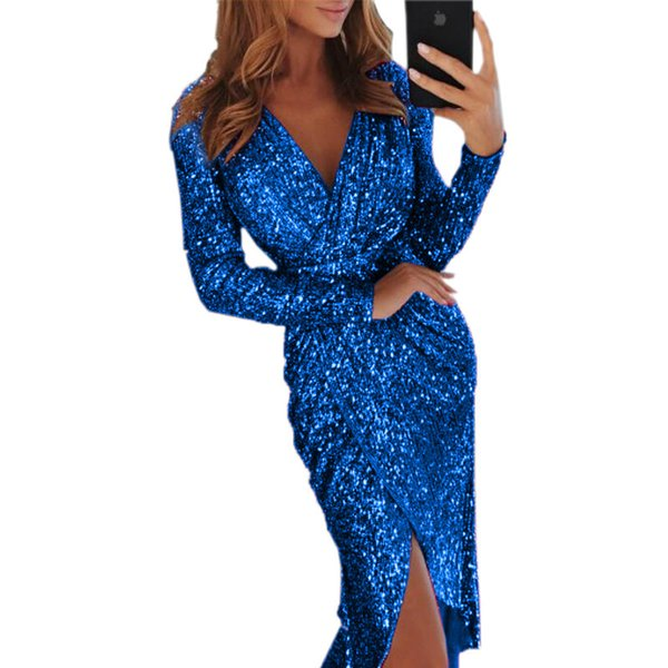 2019 Gold Sparkling Long Sleeves Sequins Mermaid Prom Dresses Deep V Neck Beaded Stones Backless Sweep Train Party Evening Gowns