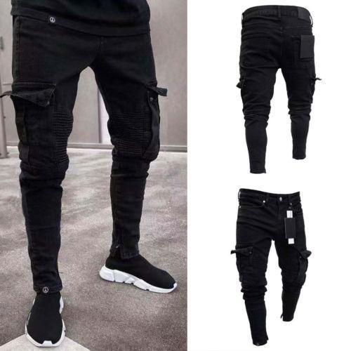 Men 2019 Long Pants Skinny Cargo Combat Slim Casual Biker Work Trousers