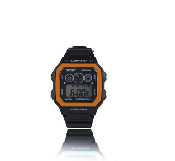 Students Boys Girls Digital watch LED Display black silicone strap sport watch color side Luminous week second alarm show