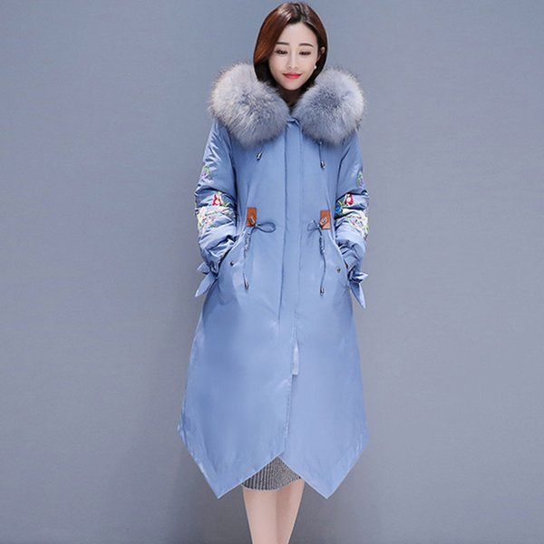 Natural fur collar Winter Down Jacket Women Hooded Long Parkas Cotton Jacket Coat Female Embroidery Winter Warm Coat Womens 827