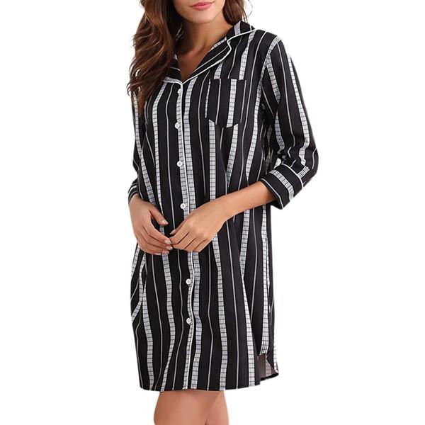 d29b43cea0f 2019 Women Summer dress Black Sleep Shirt Dress Striped Button Down Cotton  Nightgown Party Vestidos l201921