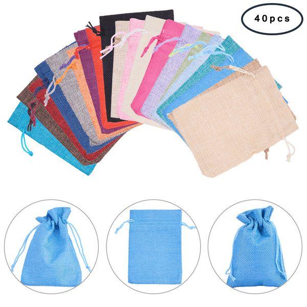 14x10cm Mixed 40pcs Set sacchetti di lino per Beads gioielli Seed imballaggio piccolo regalo Bundle Sacchetti di immagazzinaggio del sacchetto coulisse Sack Collection Pouch