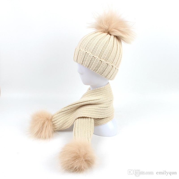 Winter Baby Girls Boys Beanies Hats Knitted Hat Scarves Set With 100% Raccoon Fur Pompom Ball Caps Children Hats Kids Warm Beanie Suits