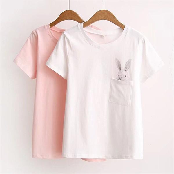 Sommer T-Shirt Frauen Lady Top Cat Frauen T-Shirt Kleidung Printed Pocket Rabbit Top Nette T-Shirts für Frauen