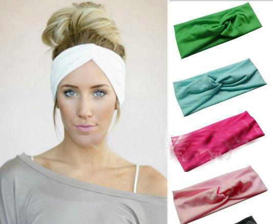 5pcs/lot Candy color cross Absorb sweat Women Boho Hair Head Wraps Accessories Fashion No Slip Wide sports yoga Hairband Headbands