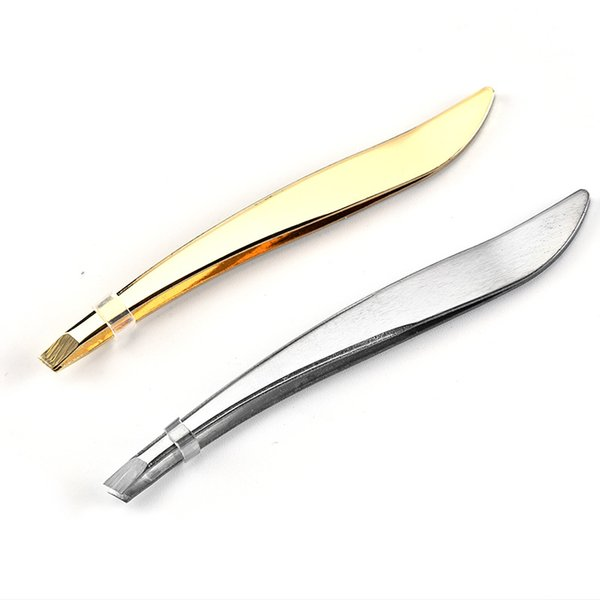 top popular 1 Pcs Professional Stainless Steel Tweezer Eyebrow Face Nose Hair Clip Remover Tool Banana Clip 2021