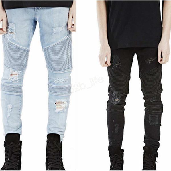 best selling Men Skinny Ripped jeans Brand Distressed slim elastic jeans Hole denim Biker hiphop pants Washed black jeans LJJA2832