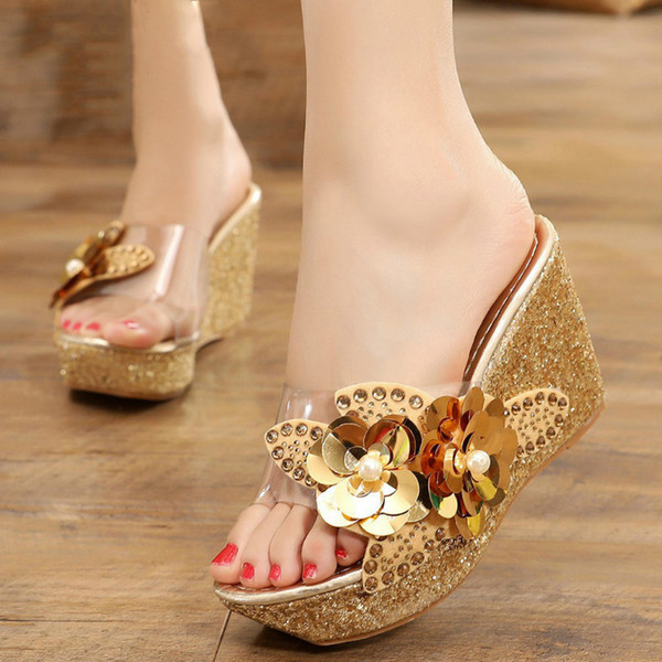 Platform Slippers Wedge Slides Slippers Women Summer Shoes Beach Sandals Slippers Ladies Shoes With Heels Pearl Flower 2020